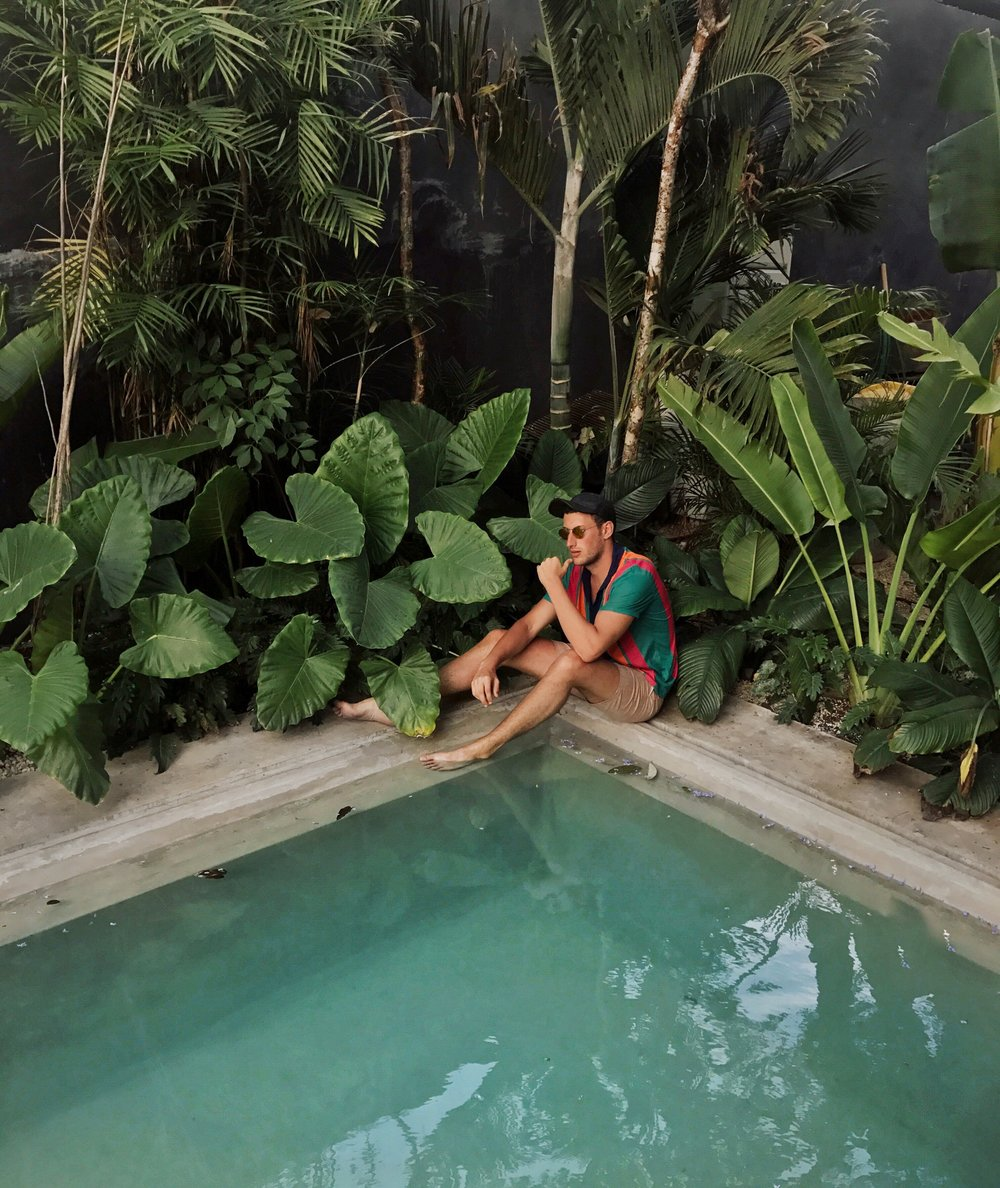 Casa Pueblo hotel pool - wearing a Zara shirt