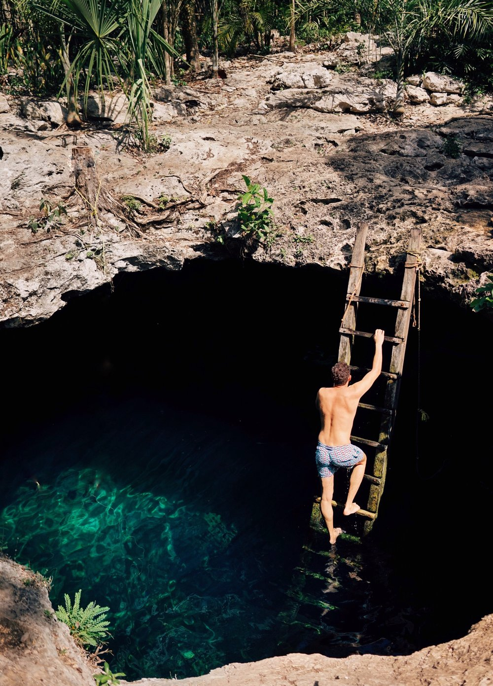 Cenote Calavera - wearing Vilebrequin trunks