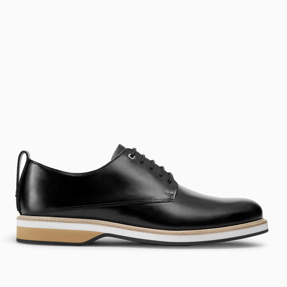 $390 - Want Les Essentiels derby shoe   These black shoes are so classic! Want Les Essentiels quality is amazing too. The white and tan sole are an amazing modern detail too! A great gift for any guy.