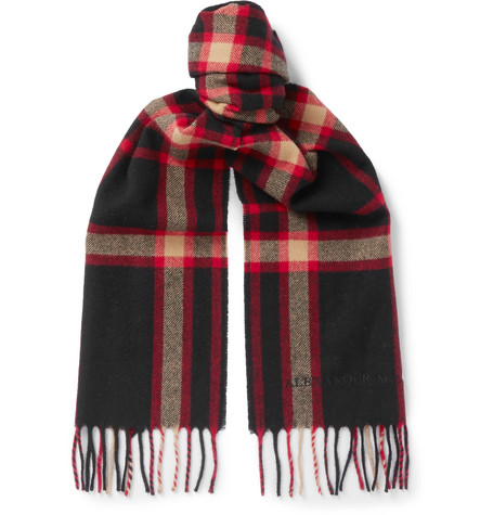 """$235 - Alexander McQueen plaid scarf   Plaid scarfs can quite often be a bit cheesy, especially around the holidays. This Alexander McQueen scarf gets it right though! Such a perfect gift for that """"hard-to-gift"""" person!"""