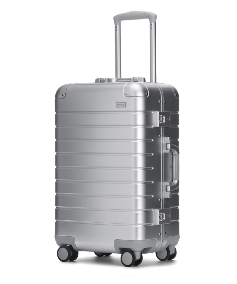 $495 - Away aluminum carry-on   I'm so in love with this aluminum carry-on by Away! It's actually at a very reasonable price compared to other brands and still maintains the same quality. This is the perfect gift for someone that still uses their 10 year old carry-on. Be prepared for people to ask about it at the airport though!