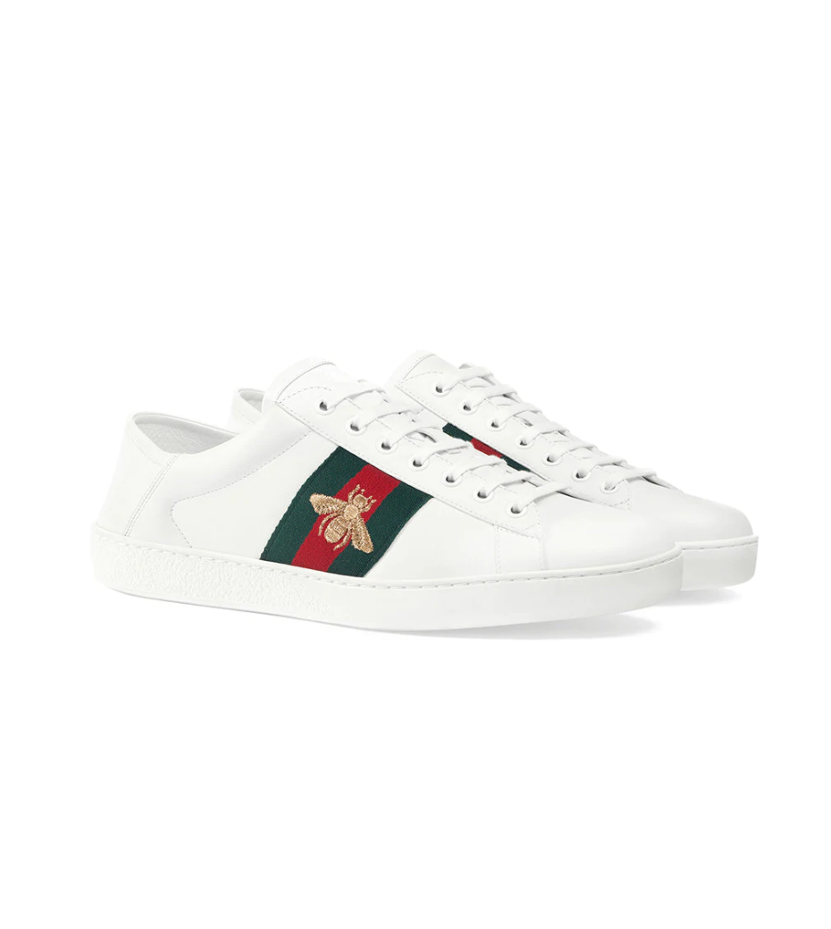 $650 - Gucci Ace sneaker   My favorite gucci sneaker. I love the iconic stripe with the bee overlay!