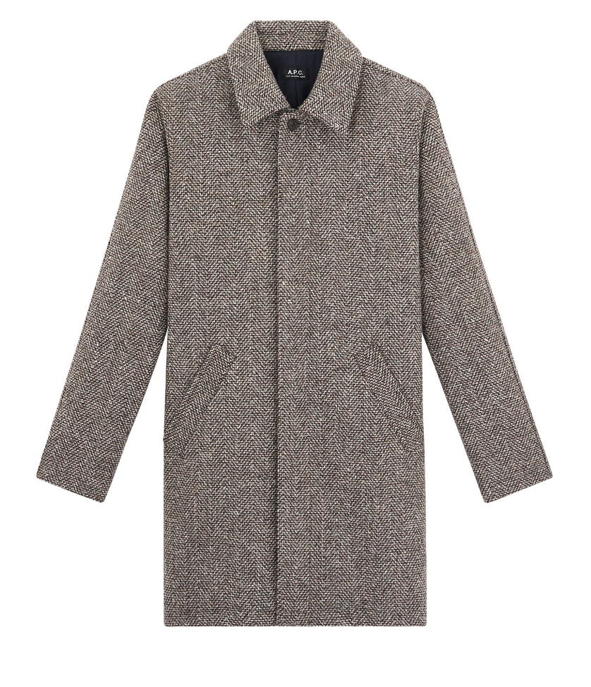 $710 - A.P.C. Pete coat   I'm obsessed with everything APC does! I tell my friends I can walk into their store, close my eyes, and pick anything and I'll be happy with it. I also love a great mid length coat.