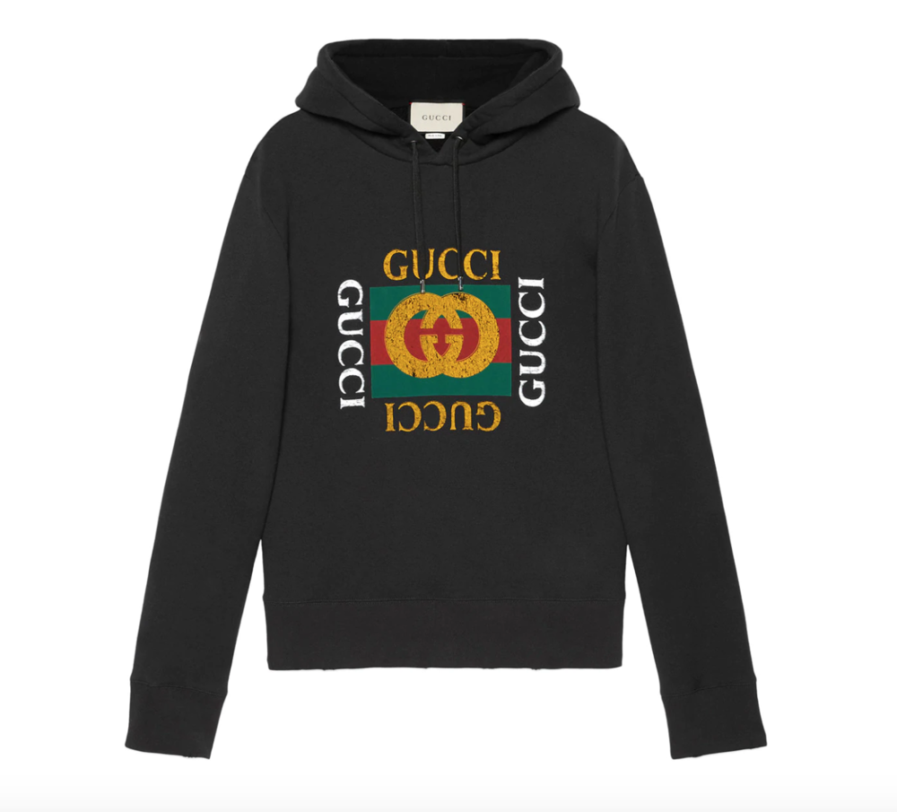 $1280 - Gucci oversized black hoodie   To me, Gucci can sometimes feel a bit over-the-top (in a good way, but just not for me). Regardless, I've been wanting this classic oversized Gucci hoodie for a while and think its a perfect gift for someone that likes the finer things in life.