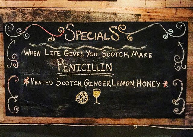 One of the best Scotch drinks 🙌  #penicillin #scotch #ginger #honey #lemon #thenook #thenookseattle #westseattle #specials #drink #chill #cozyvibes #laphroaig @thegrumpytangerine :)