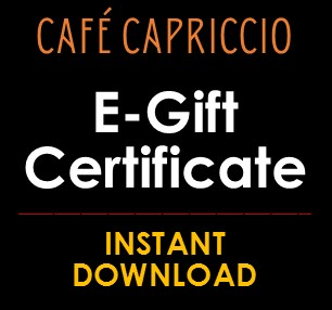 e gift card instant download gift certificate cafe capriccio