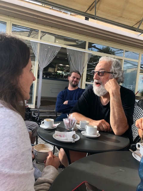 Faye (left), myself, and Franco - La famiglia at work in Fiesole 2018
