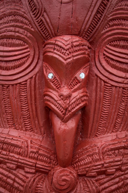 Whakairo, traditional carving of one of the planks on wharenui (traditional meeting house). Iritekura,Waipiro Bay, Tairāwhiti, Aotearoa.