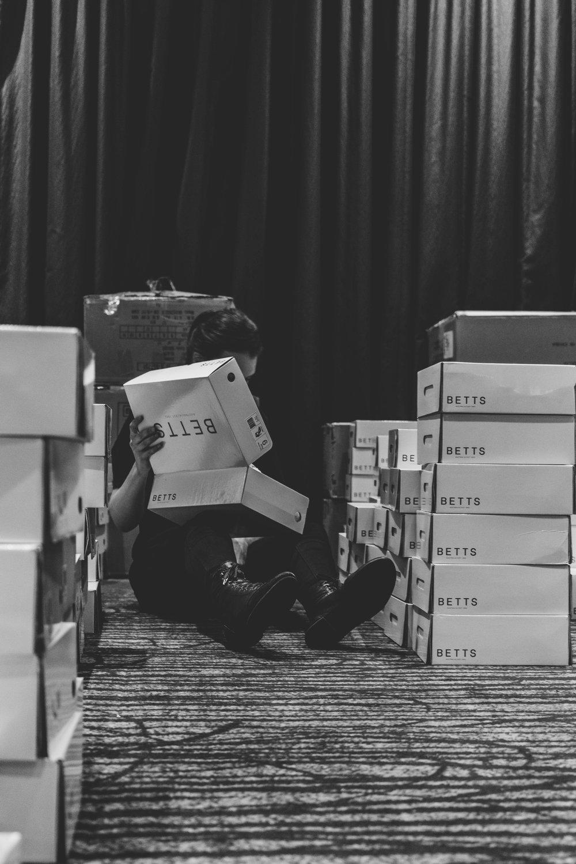 Kim sorting through  Betts  shoe collection.TPFF, Hana Photography, 2017