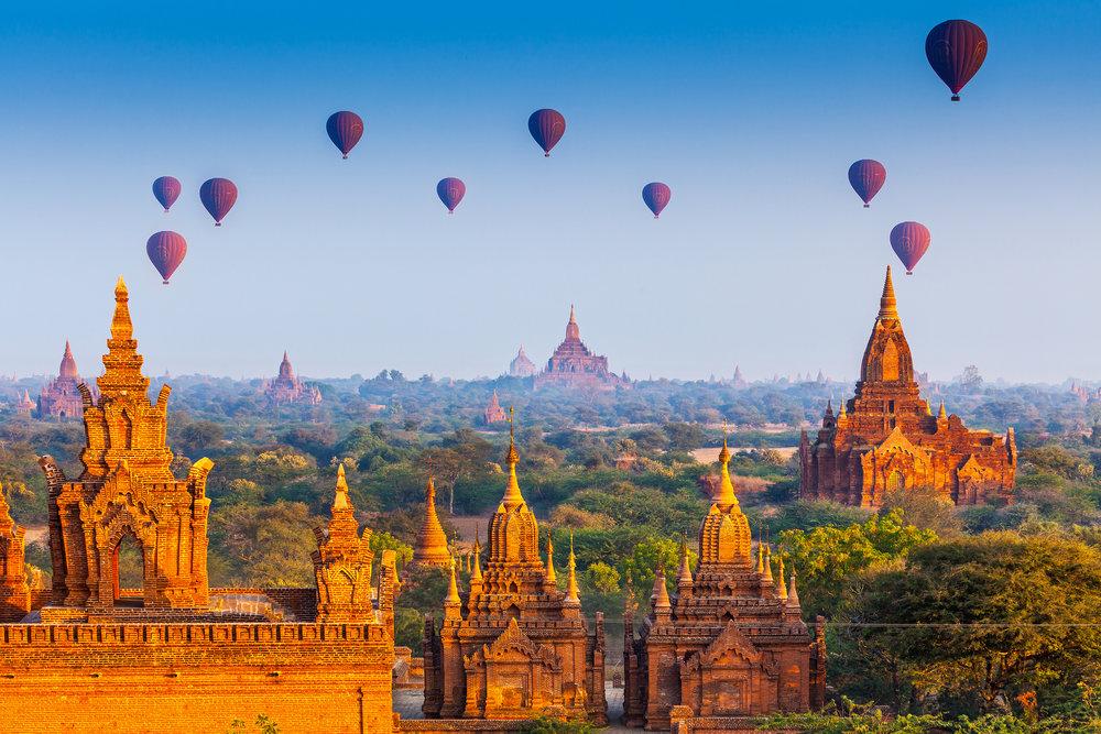 Myanmar's Top Experiences: - 1. Taking a hot air balloon ride amongst the temples and stupas of Bagan2. Boating alongside the fishermen on Inle Lake3. Contemplating balance at the Kyaiktiyo Pagoda