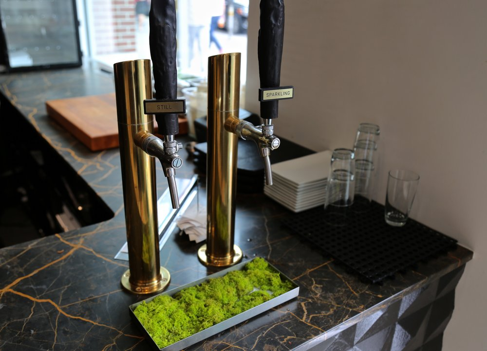 Virtuous Pie - Most restaurants cafe don't sell bottled water and instead have these great pieces! Love this idea!