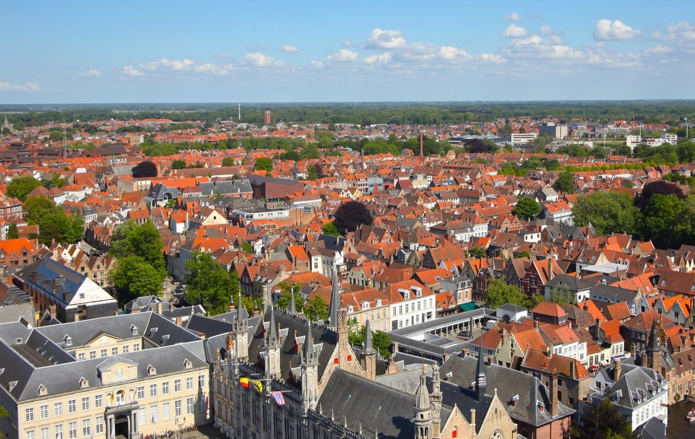 View from the Tower of Belfry , Bruges Belgium