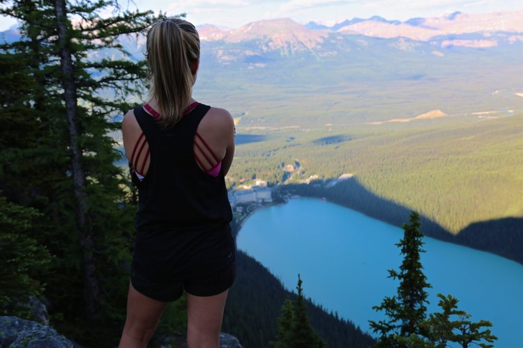View at the top of the Little Beehive Hike - Lake Louise below and mountains in the distance