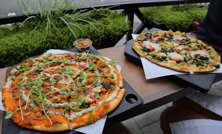 Vegan pizza at Virtuous Pie