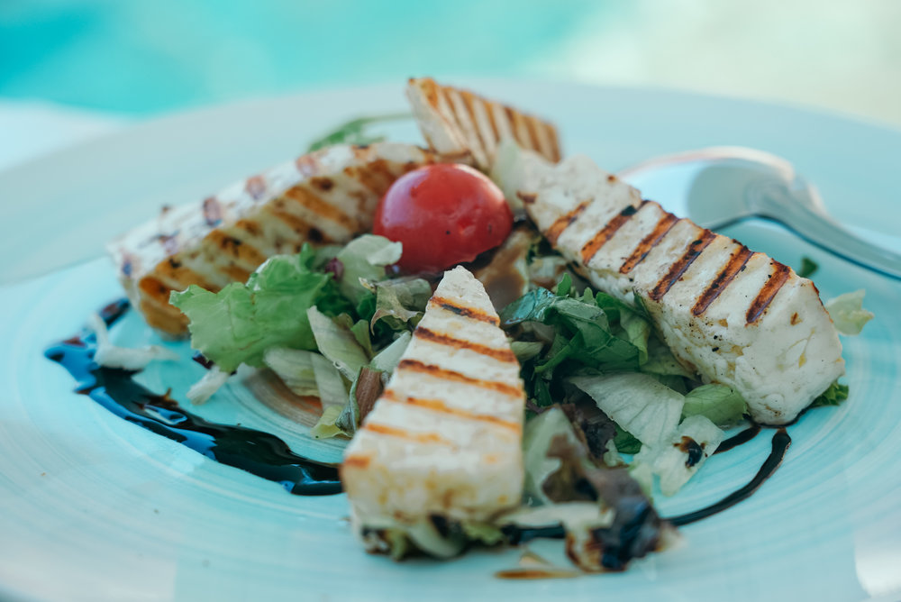 Lunch in Amoudi Bay - Halloumi Salad (local cheese from Crete)