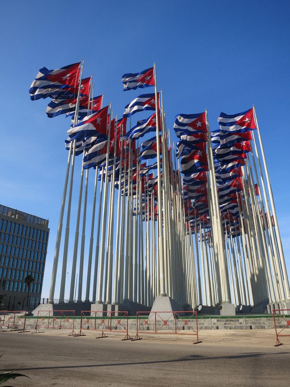Outside U.S. Interests building, Havana.