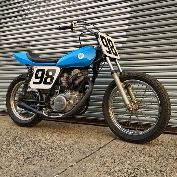 Our SR500 is for sale. Megacams, Wiseco piston, set up for flat track, fast as hell. Clean title can be converted to street use. She has a few dings from the track but runs like a top. DM for info.