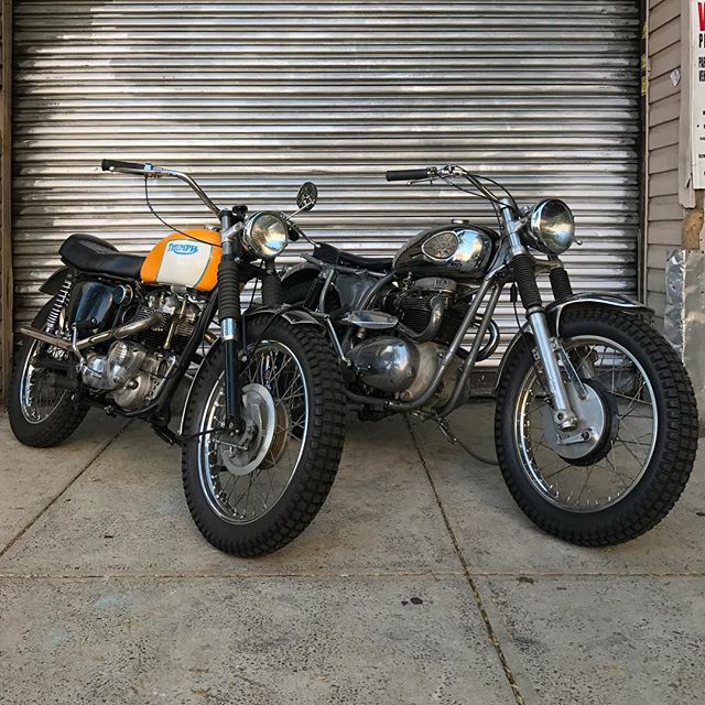 """Looking for weekend plans? This Saturday these two gals will be at """"The Lot"""" a vintage motorcycle show put together by @basket_case_productions. Meserole and Moultrie St. Greenpoint BK 2-midnight ride on down and say what's up #BSA #triumph"""