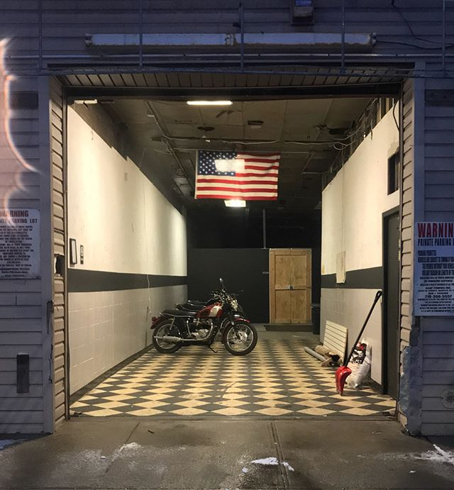 Snow day. Member parking spots still available. Keep your bike out of the elements in a private, secure, communal garage with lift. DM for info or to set up an appointment to view the space #flythecoopmoto #brooklyn #queens #ridgewood #bushwick #moto