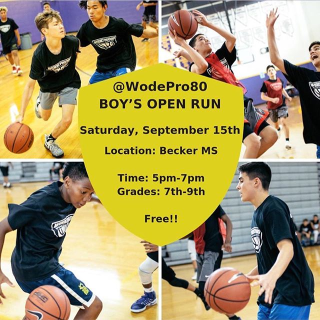 @WodeMixtapes will be hosting @WodePro80 OPEN RUN‼️‼️#Tag a Hooper that needs to be at #WodePro80 Open Run 🔥💯😮🏀 . . . stop by Saturday at Becker Middle School to showcase your skills before @wodePro80 . . @workordonteat @wodescouts @wodemixtapes