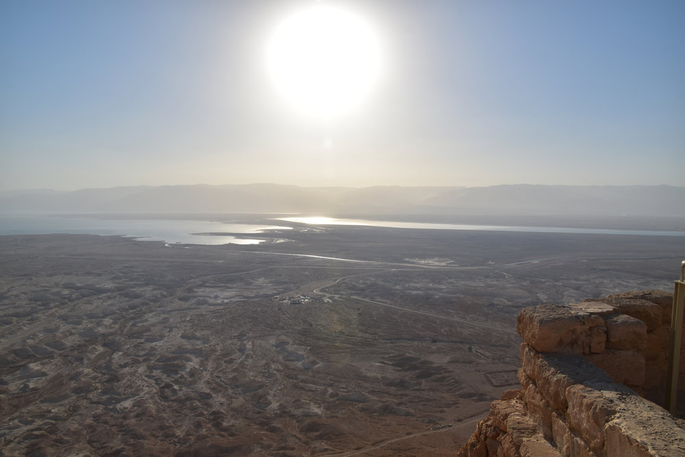 The Dead Sea at sunrise, view from Masada