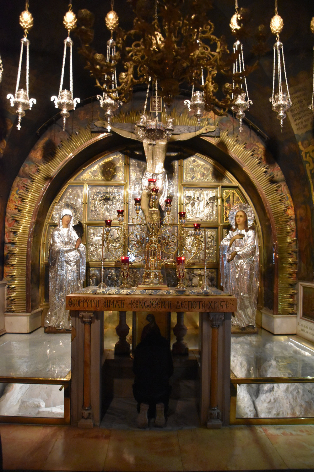 Alter built over Cavalry Rock where Jesus was crucified, inside the Church of the Holy Sepulchre