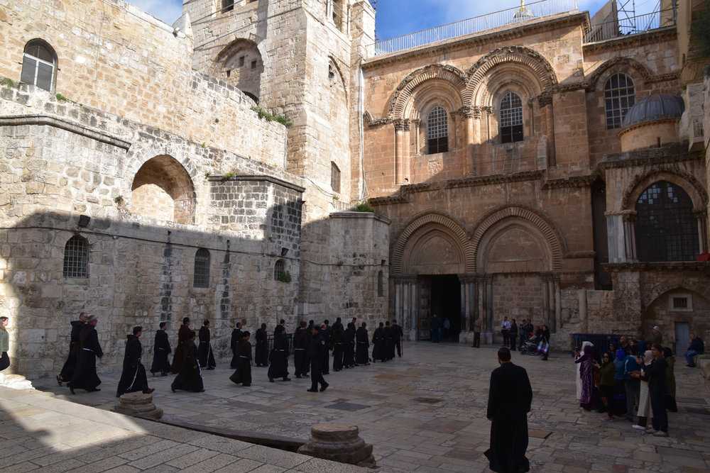 Fransiscan procession outside the Church of the Holy Sepulchre