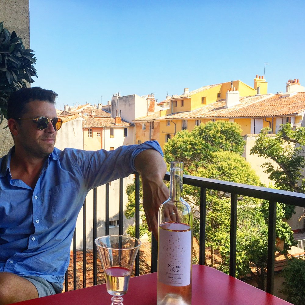 enjoying a quiet moment on patio in Aix-en-Provence