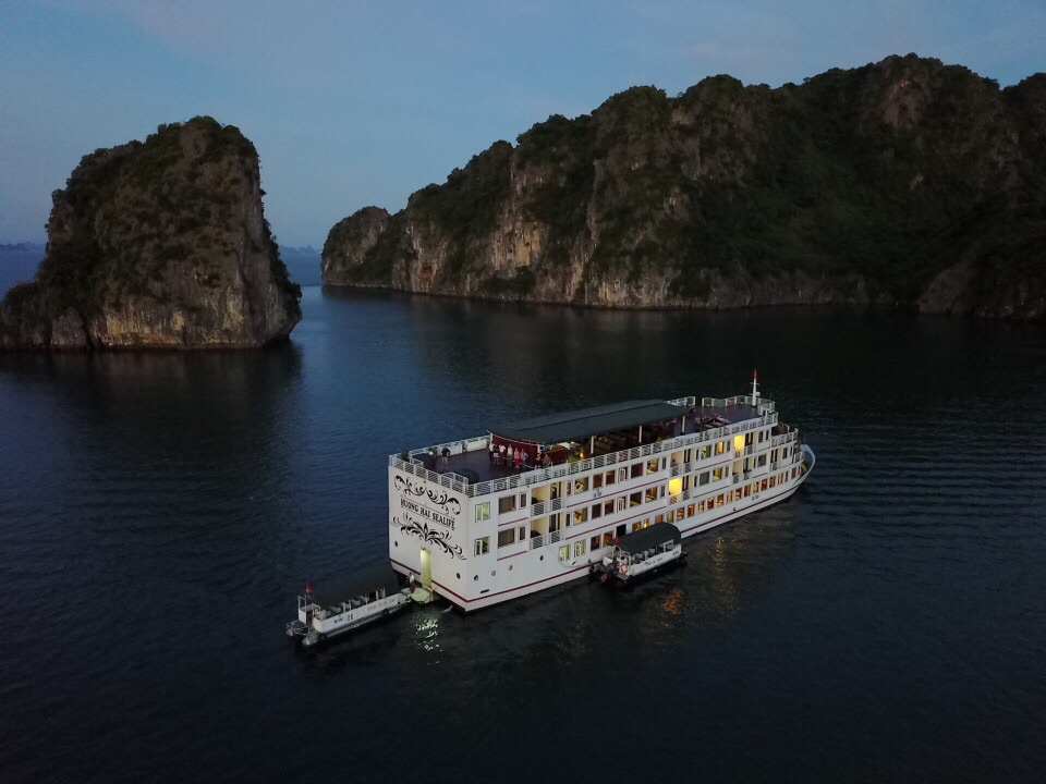 Our home for two days, anchored in Halong Bay
