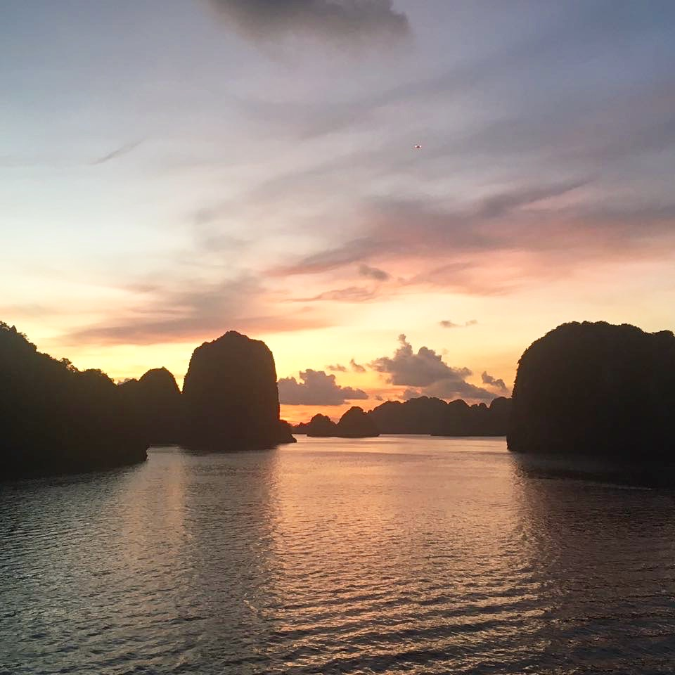 gorgeous sunset in Halong Bay