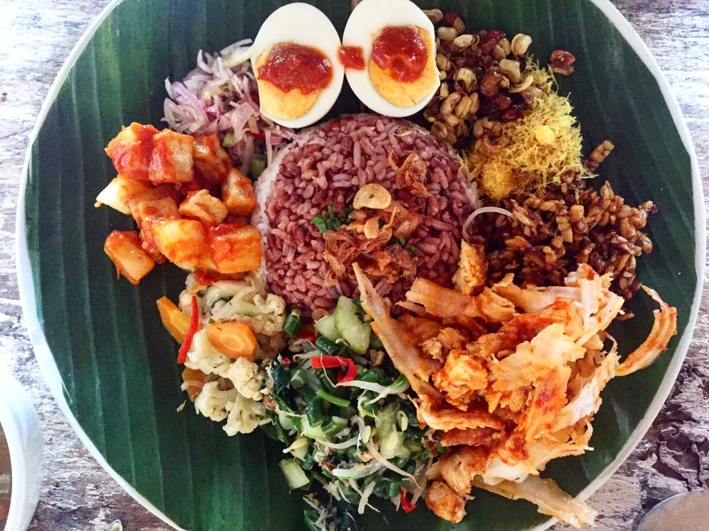 amazing Nasi Campur Campuhan at Ubud's Yellow Flower Cafe