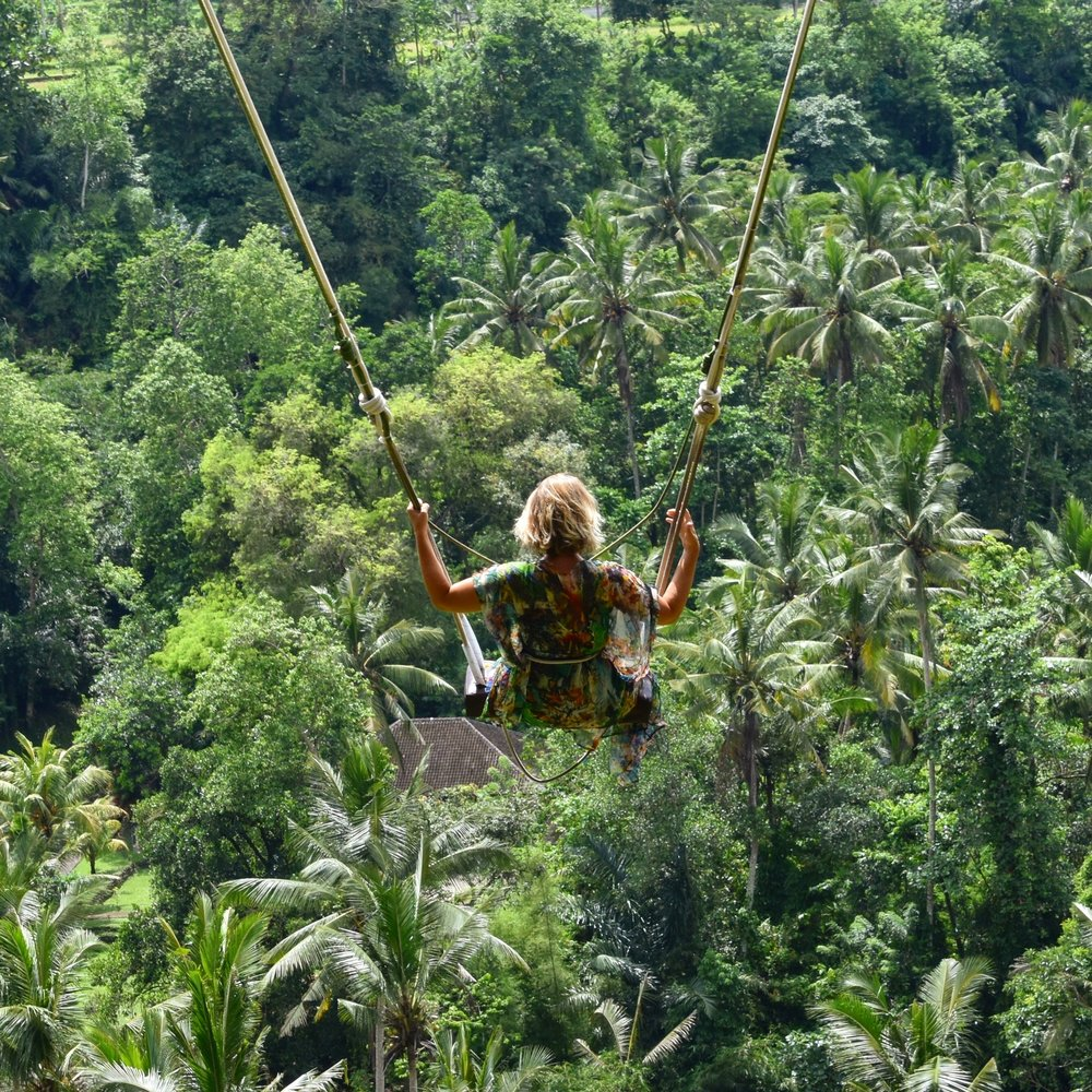 Bali swinging over a gorge