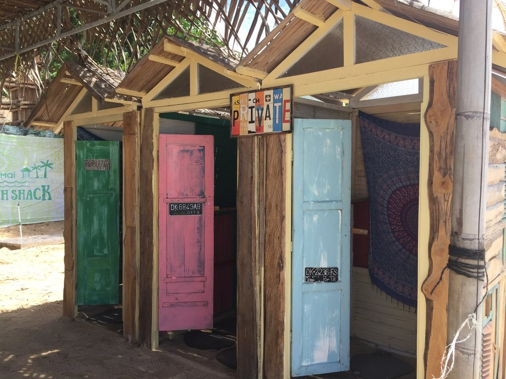 changing rooms on the Pandawa Beach, Bali