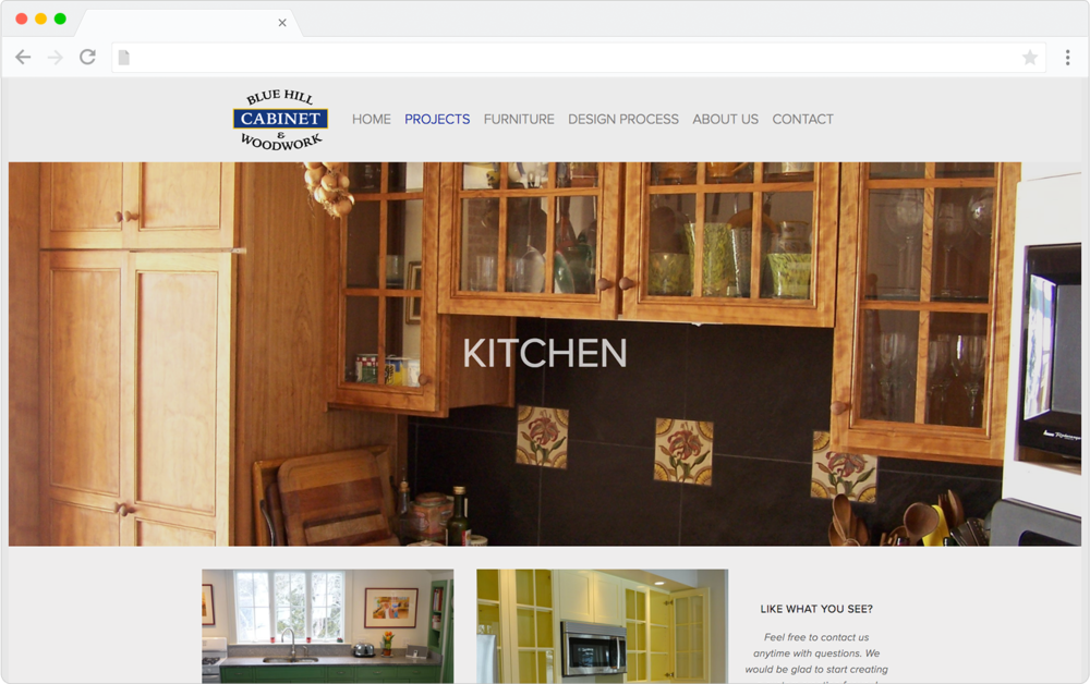 Blue Hill Cabinet and Woodwork Squarespace template customization preview