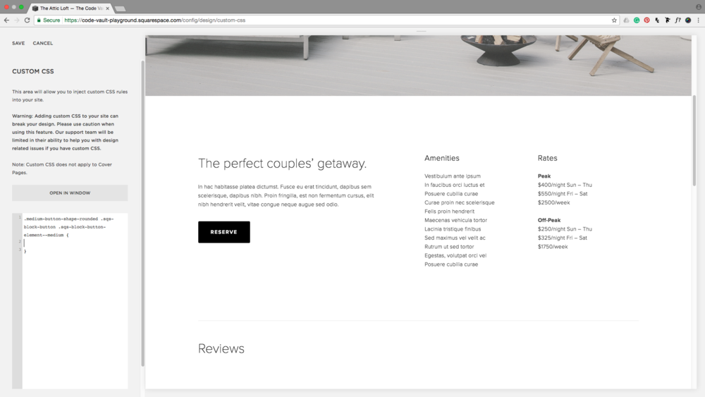 Classes for the medium sized Squarespace button