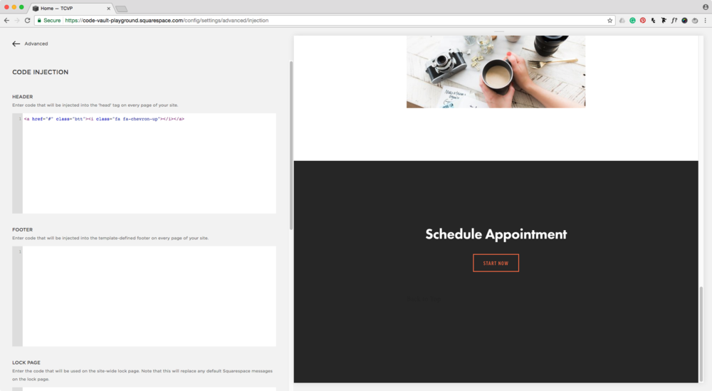 Inserting back to top button into the site's header.