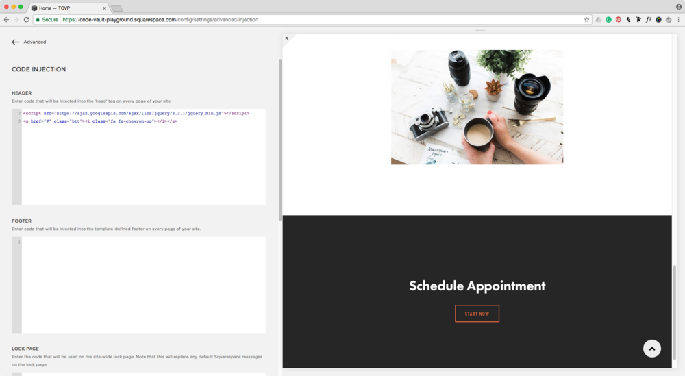 Adding JQuery library to Squarespace's site header.