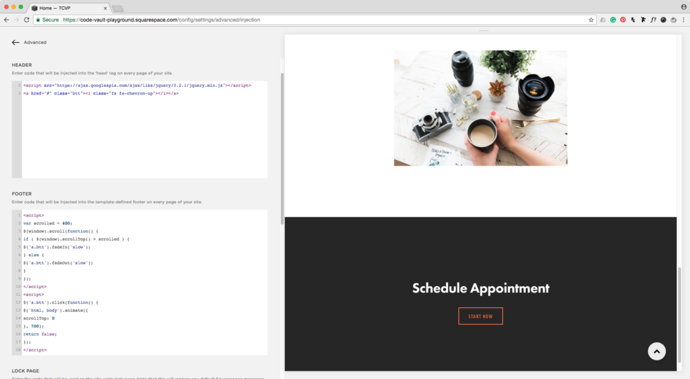 Adding back to top button script to Squarespace site.