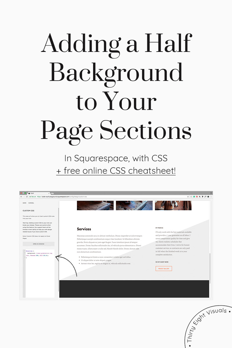 Css background image 50 percentage - Adding A Half Background To Your Squarespace Page Section By Using Css