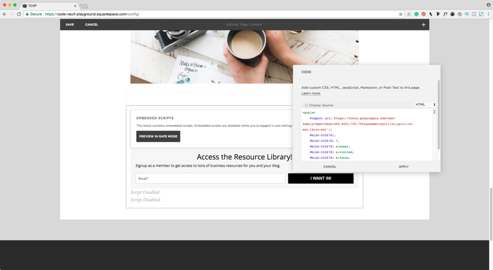 Adding a MailerLite embedded form in a Squarespace code block.