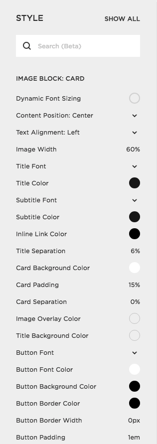 How to change the font of an image card in Squarespace