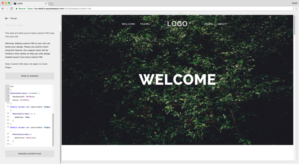 Adding a secondary nav bar in Squarespace below the header