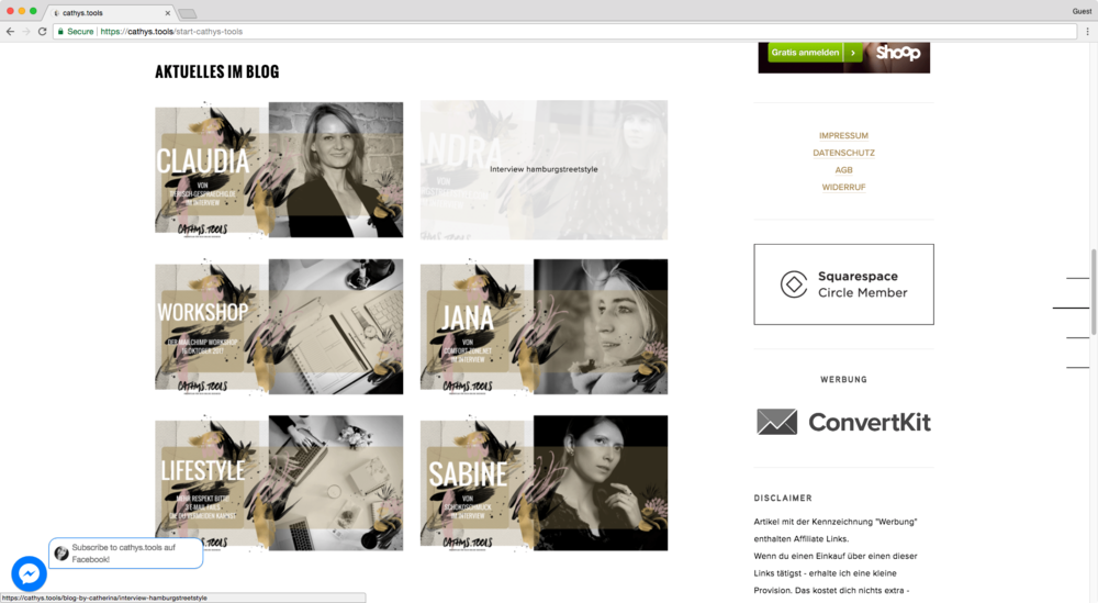 Squarespace summary block with a plugin that gives it a great hover mode effect