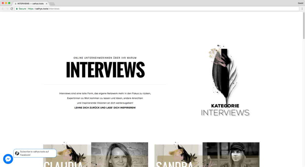 An example of bold Squarespace inner pages design