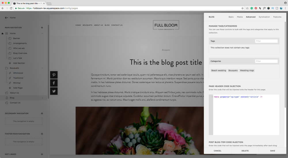 Adding rich pin meta tags to Squarespace blog