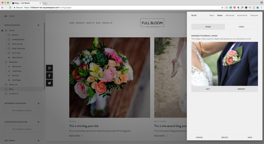 Adding a thumbnail image to a blog page in Squarespace