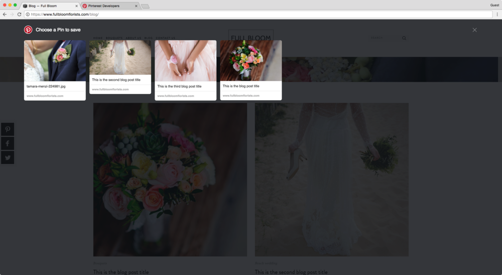 Pinning with AddThis from a Squarespace blog page