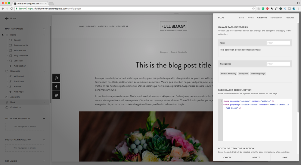 Adding an author to your Squarespace Rich Pins