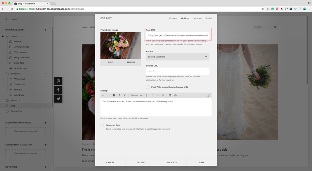 Editing blog posts URLs in Squarespace for SEO and Rich Pins