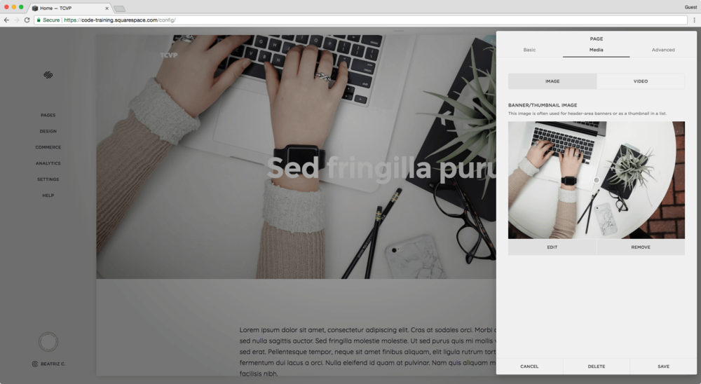 Adding a banner image to a regular page in Squarespace